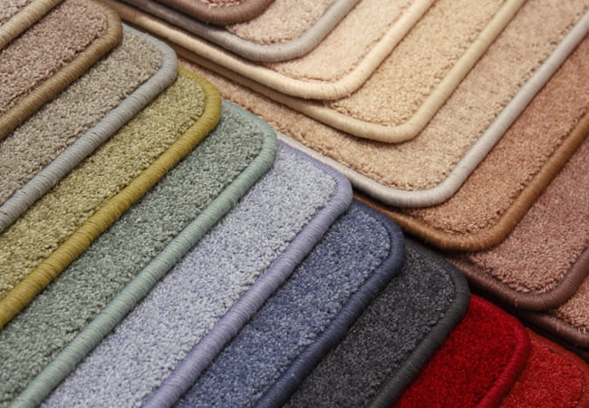 different color carpet swatches